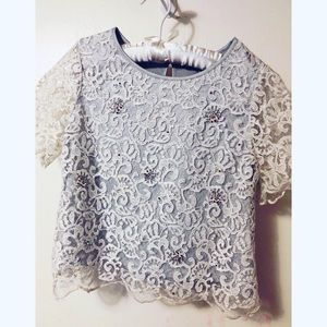 GB White lacy top with silver underlay